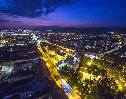 Night aerial photography Spisska Nova Ves