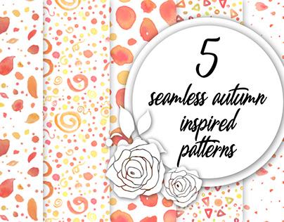 5 seamless autumn inspired patterns