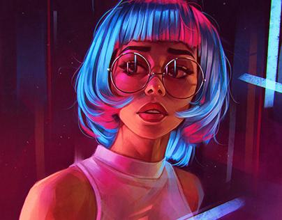 Painting Artwork Glowing Girl