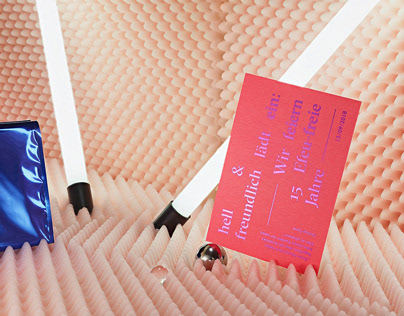 Premium letterpress invitation card with neon light