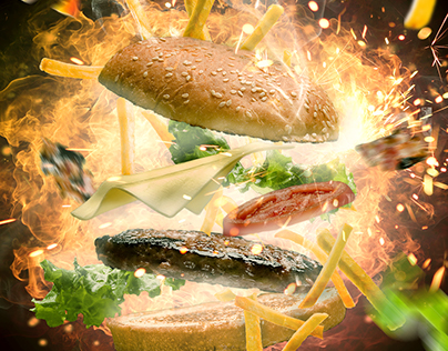 Spicy Cheese Burger, Advertising poster concept.