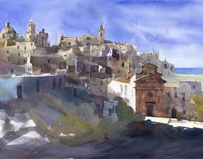 "Watercolor video tutorial ""Ostuni Panorama"""