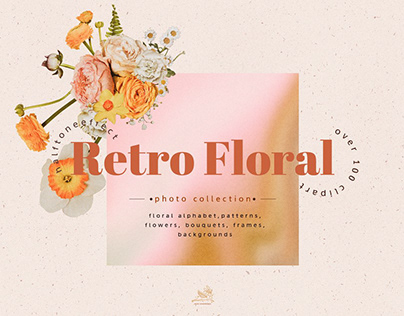 Halftone Retro Floral Collage Set
