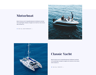 Yacht landing page