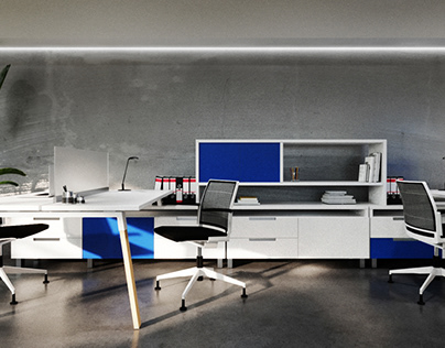 Colorful Open Office Space