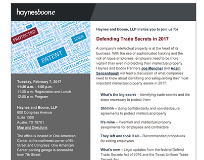 Haynes and Boone - Defending Trade Secrets Invitation