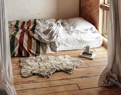 Cabin bedroom CGI