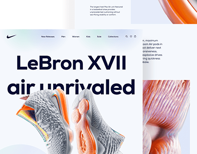 Nike product landing page redesign concept