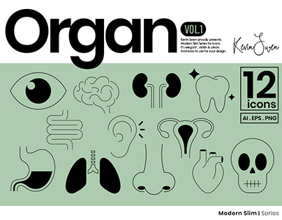 Organ Icons Set | Modern Slim Series