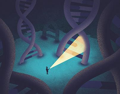 Illustration – scientist looking for DNA damage