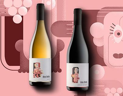 ANA BELLA wines   Concept, label design, illustration
