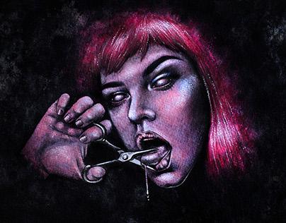 Taciturn - A Mixed Media Female Portrait