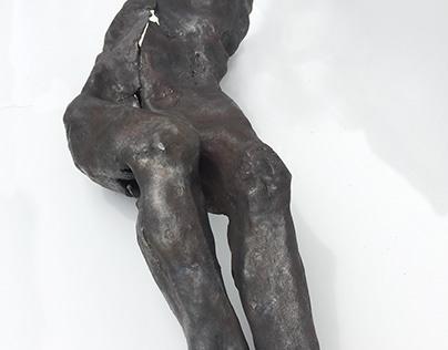liegender Torso, Eisen geschmiedet, 120 cm