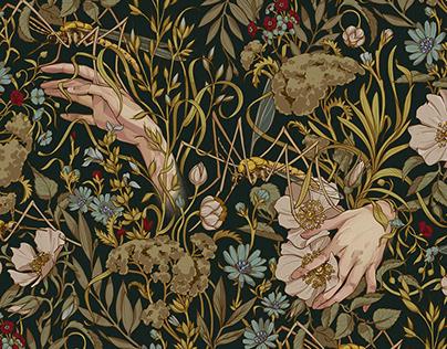 Ophelia seamless pattern