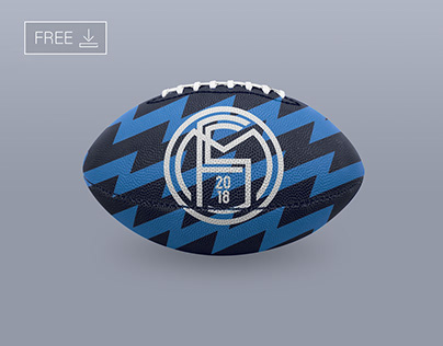 Free NFL Football Ball Logo Mockup PSD