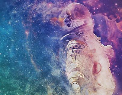 Astronaut breaking through