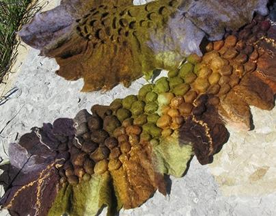 "Handmade scarf ""Autumn grapevine"". Felting."