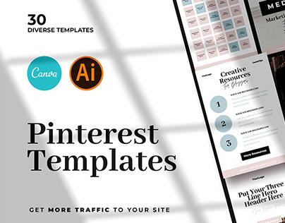 Modern Pinterest Templates + Mockups