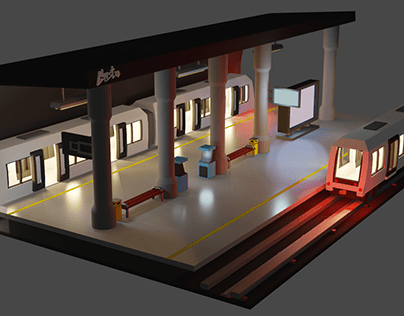 3D LOW POLY Subway Station