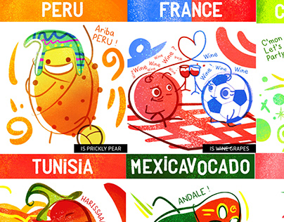 If World Cup Countries were Fruits - 32 illustrations