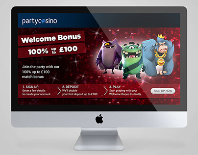 Party Casino landing pages and hero banners