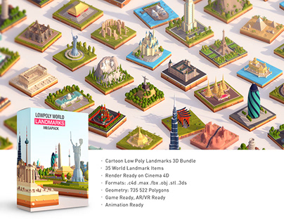 Low Poly World Landmarks Pack
