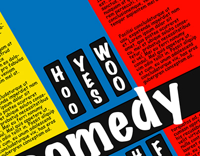 Comedy Poster using words shapes and colour