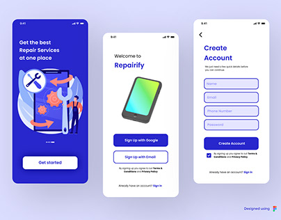 Repairify - A Repair Service app UI concept