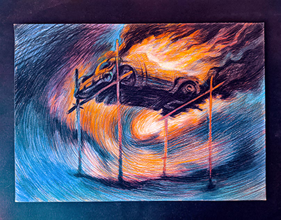 Ritual. Рaper, (297x420mm) color pencils drawing.