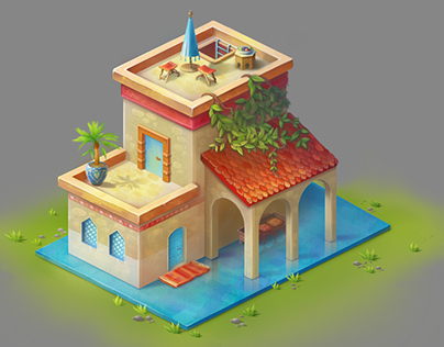 An isometric cartoonish house