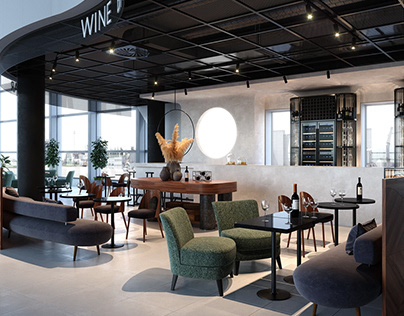 BAR IN THE AIRPORT// INTERIOR 3D VISUALIZATION
