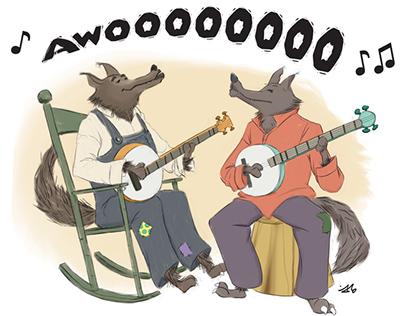 Comic Illustration - Howling Wolfs