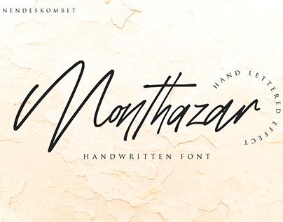 Monthazar handwritten font