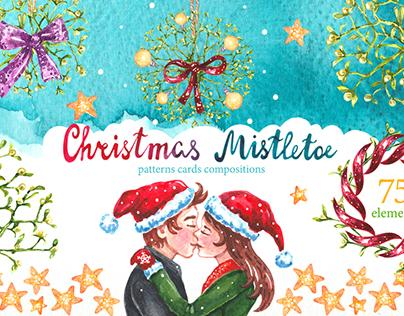 """Watercolor set """"Christmas Mistletoe"""""""