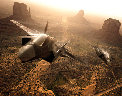 Jetfighters over Monument Valley