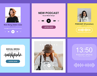 Free Music & Podcast Promotion Social Media Post Design