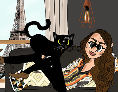 Caricature for a cat and her owner