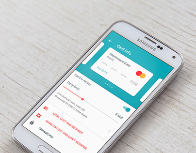 Cards Control UI in Android Finance App