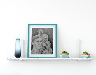 Семейный портрет (формат А4, простые карандаши)