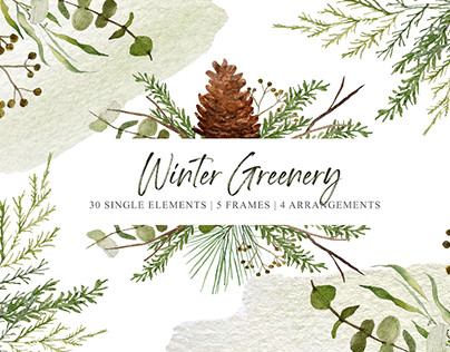 FREE WINTER GREENERY GRAPHICS COLLECTION