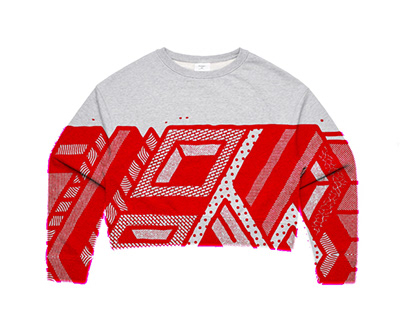 Crop Sweater Abstract designs