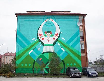 Mural: Girl-Crane