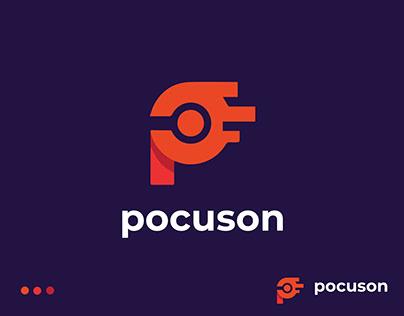 Modern P letter Logo, P letter camera