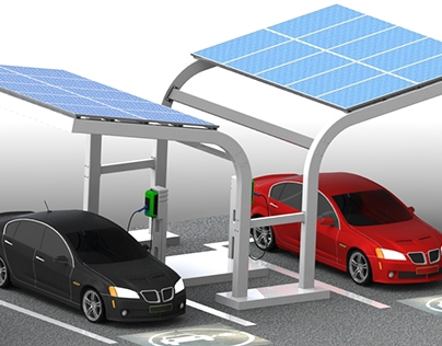 Parking with solar panel for electric car 3D SolidWorks