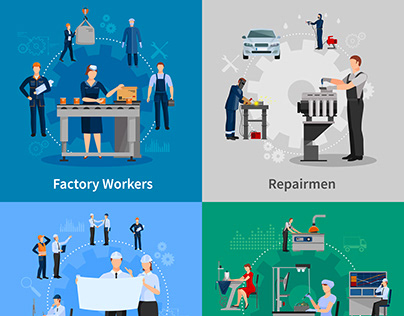 Factory workers card set