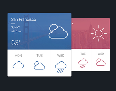 CSS3 + SVG - Material Design Weather Card Animation
