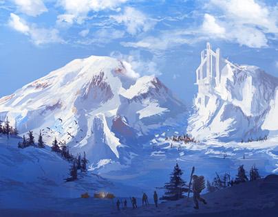 Snow Landscape - speed painting