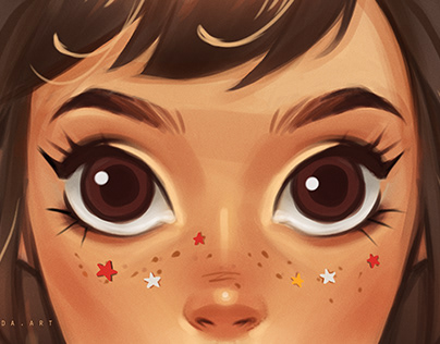 stylized eyes and hair styles