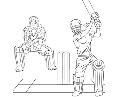Cricket Line Art