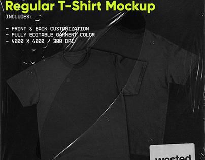FREE REGULAR T-SHIRT MOCKUP FRONT & BACK